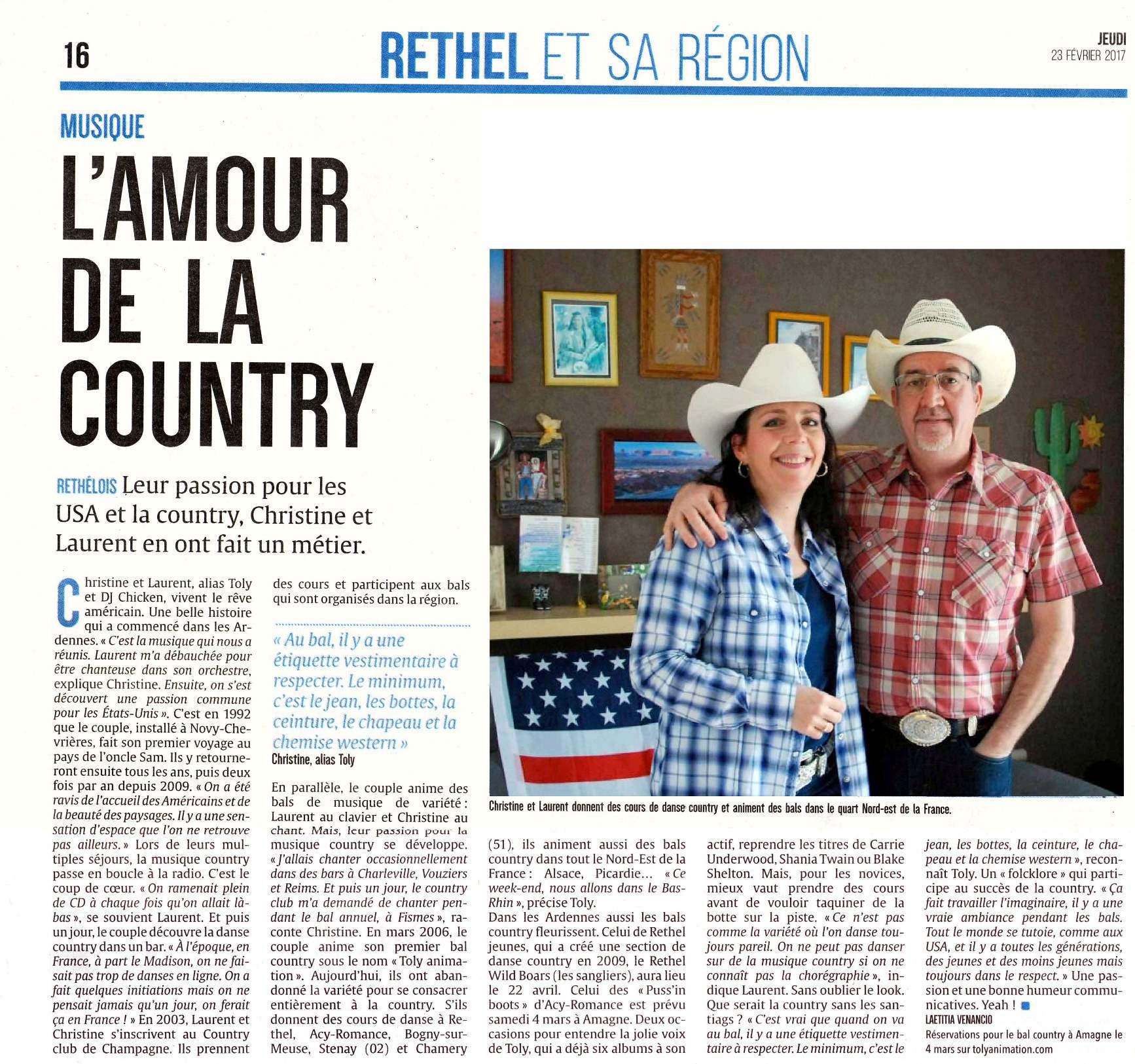 PRESSE : L'union L'ardennais, L'AMOUR DE LA COUNTRY 23/02/2017